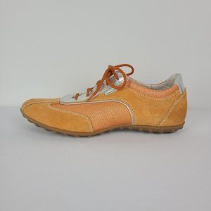 Geox Orange & Silver Suede Runners Size 10